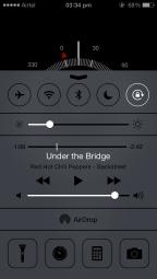 iOS 7 Control Centre, above Compass