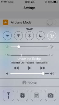 iOS 7 Control Centre, above Settings