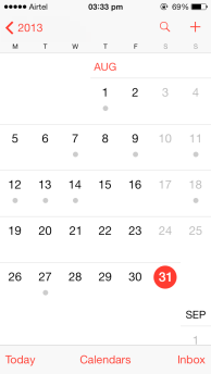 iOS 7 Calendar month-View