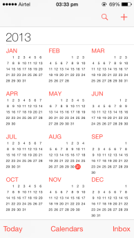 iOS 7 Calendar Year-View