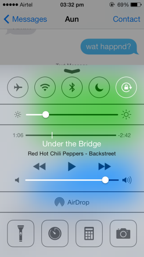 iOS 7 Control Centre, above Message App
