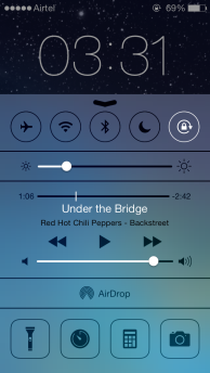 iOS 7 Control Centre, above lock screen
