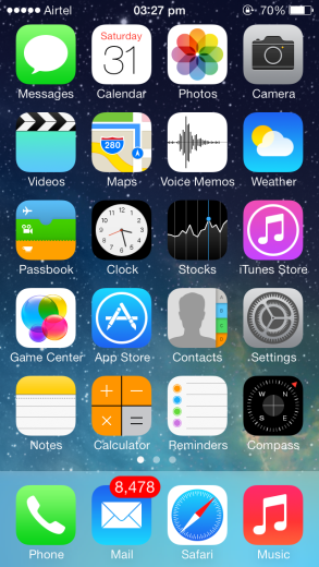 iOS 7 with all new native iOS 7 icons