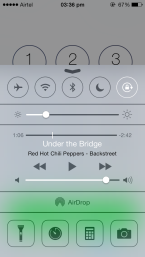 iOS 7 Control Centre, above Phone App