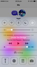 iOS 7 Control Centre, above Game Centre